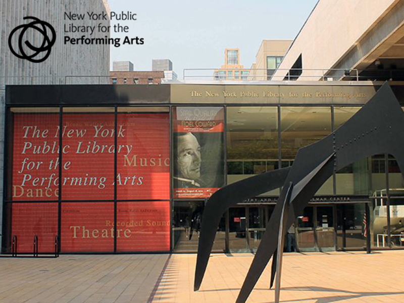 "Exterior view of New York Public Library for the Performing Arts, with Calder's ""Le Guichet"" sculpture in foreground."