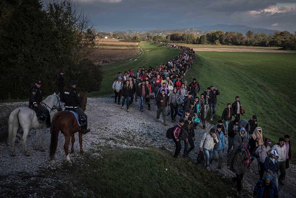 Migrants in Dobova, Slovenia, 2015.